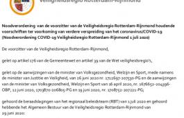 Nieuwe noodverordening Rotterdam-Rijnmond per 1 juli